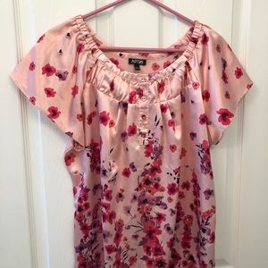 Pink silky floral top